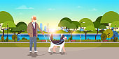 senior man walking with husky dog urban city park background grandfather with his animal pet best friend concept horizontal flat