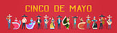Cinco De Mayo Festival Poster With Mexican People In Traditional Clothes Musicians And Dancers Horizontal Banner