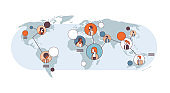 mix race people avatar social media global communication concept internet network connection world map background line horizontal isolated