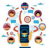 Social Media Communication And Network Concept With Hand Holding Smart Phone And Asian People Avatars Chatting