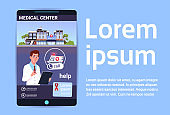 Online Medical Center Mobile Hospital Or Clinic App In Smart Phone Over Background With Copy Space