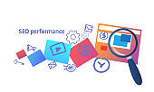 search engine optimization performance concept SEO analysis with folder zoom magnifier horizontal sketch doodle