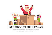 santa claus inside paper box merry christmas holiday happy new year concept elves helper boy girl character flat horizontal isolated copy space