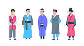 Korea Traditional Clothes Set Of Men Wearing Ancient Costume Isolated Asian Dress Concept