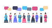 Group Of Asian People In Traditional Clothes With Chat Bubble Women And Men Dressed In Ancient Costumes Communication Concept