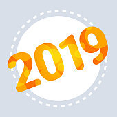 2019 happy new year merry christmas decoration concept flat