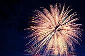 4th July fireworks. Fireworks display on dark sky background