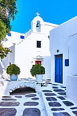 Small white church in Mykonos
