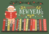 Pig in red hat reading book on bookshelf with lettering 'Happy New Year'.
