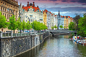 Majestic spring panorama with famous Prague city, Czech Republic, Europe