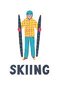 Hand drawn man with skis and lettering skiing.