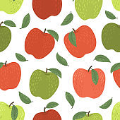 Pattern from hand drawn apples
