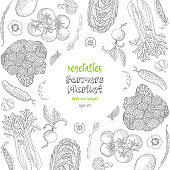 Vegetables top view frame. Ink hand drawn vector illustration. Farmers market menu design template. Organic vegetables food poster. Vintage hand drawn sketch vector illustration. Engraved style.