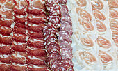 full frame of cold  deli meat slices: bacon, salami, italian coppa