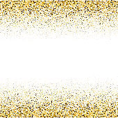 Gold frame glitter texture isolated on white background. Gilded abstract particles. Sparkle element for greeting card, website, banner or premium flyer. Vector illustration