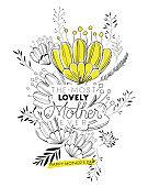 lovely mom for ever handmade postcard