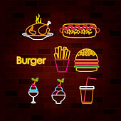 burger and fast food set of neon sign on brick wall