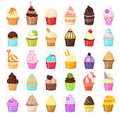 Set of cupcakes on white background. Sweet pastries decorated with fruit, chocolate, sprinkles.