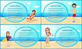 People on the beach. Set of frames, posters, banners. The cartoon style. Vector illustration.