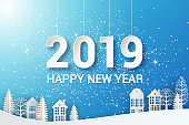 Origami Decoration background. Seasonal holidays. Houses and trees on the hills, winter holidays. Winter Snow Urban Countryside Landscape City Village, Happy new year 2019 and Merry christmas