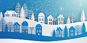 Winter Snow Urban Countryside Landscape City Village, Happy new year and Merry christmas, paper art and digital craft style. Houses and trees on the hills, winter holidays.