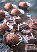 Rum balls with cocoa powder and chocolate slices