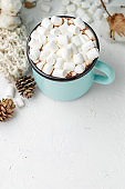 Mug of cocoa with marshmallows and winter decor
