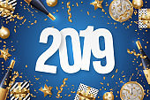 2019 Happy New Year Background Vector. Greeting Card Design Template. Vector Illustration