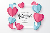 Valentines day sale background with Heart shape and clouds. Paper cut style. Can be used for Wallpaper, flyers, invitation, posters, brochure, banners. Vector illustration.
