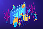 Online sales pro concept vector isometric illustration.