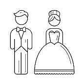 Bride and groom vector line icon