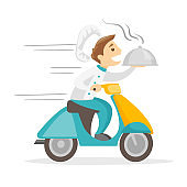 Caucasian white man delivering dish on scooter