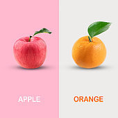 Creative layout made of red apple and orange. clipping path, Food concept.