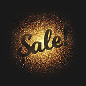 Sale Golden Glowing Particles Vector Background
