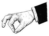 Vector Artistic Illustration or Drawing of Businessman Hand in Suit Holding Something Small Between Pinch Fingers