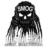 Vector Artistic Drawing Illustration of Smoke From Smokestacks Creating Human Skull, Concept of Toxic Smog and Air Pollution