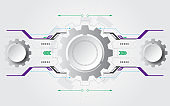 Grey white Abstract technology background with various technology elements Hi-tech communication concept innovation background Circle empty space for your text