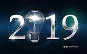 2019 Happy new year with light bulb on abstract background