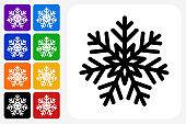 Snowflake Icon Square Button Set