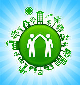 Business Partnership Environment Green Button Background on Blue Sky