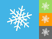 Snowflake  Flat Icon on Blue Background