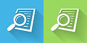 Searching Documents Icon with Long Shadow