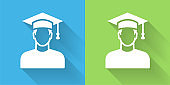 Graduating Man's Face Portrait Icon with Long Shadow