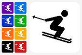 Skiing Icon Square Button Set