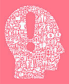 Attention Head  Women's Rights and Girl Power Icon Pattern