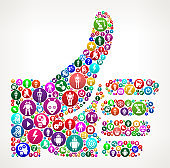 Thumbs Up  Vector Icon Pattern Background