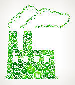 Factory Nature and Environmental Conservation Icon Pattern