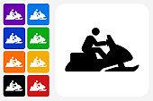Snowmobile Icon Square Button Set