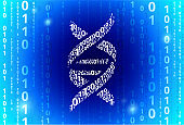 DNA Binary Code Blue Vector Pattern Background