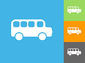 School Bus  Flat Icon on Blue Background